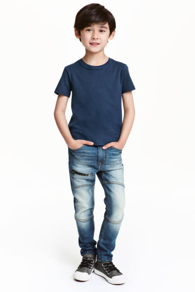 Skinny Fit Jeans with a zip - Denim blue - Kids | H&M CN 1
