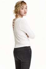 Fine-knit top - Natural white - Ladies | H&M CN 1