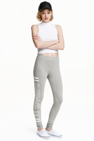 Jersey leggings - Grey marl - Ladies | H&M CN