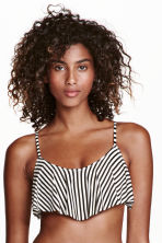 Frilled bikini top - Black/White/Striped - Ladies | H&M CN 1