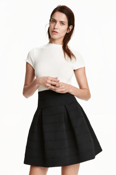 Textured skirt - Black - Ladies | H&M GB 1