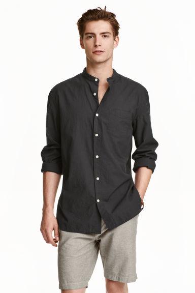 poplin grandad shirt - Black - Men | H&M GB