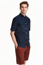 Short-sleeved cotton shirt - Dark blue/Woven texture - Men | H&M CN 1