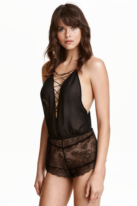 Playsuit in chiffon and lace