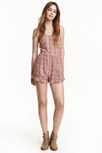 Patterned playsuit - Natural White/Red floral  - Ladies | H&M CN 1