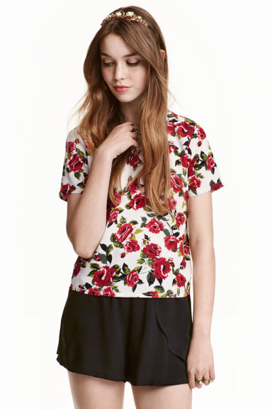 Patterned top - Natural White/Red floral  - Ladies | H&M CN 1