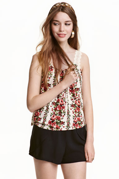 Top with lace shoulder straps - Natural White/Red floral  - Ladies | H&M CN 1