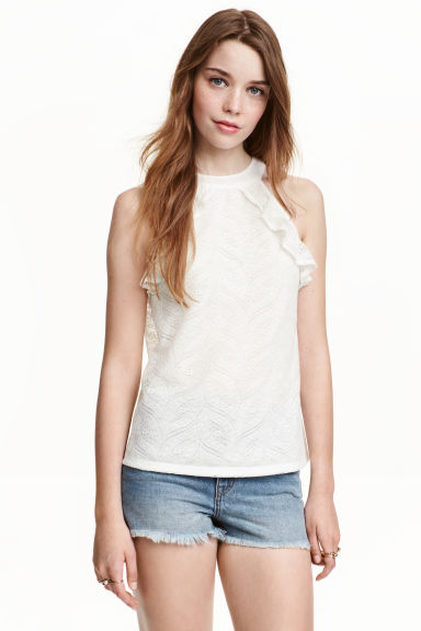 Frilled lace top - Natural white - Ladies | H&M CN