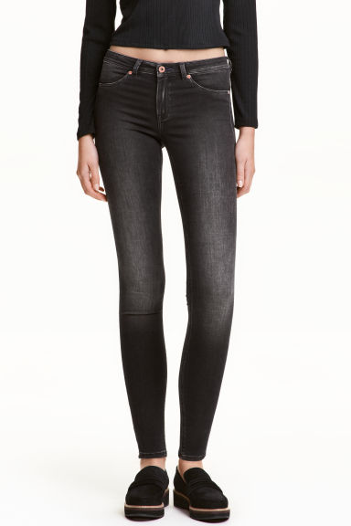 Feather Soft Low Jeggings - Noir washed out - FEMME | H&M FR 1