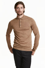 Merino wool polo shirt - Dark beige marl - Men | H&M 1