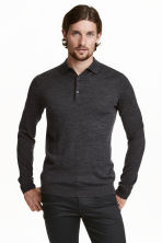 Merino wool polo shirt - Dark grey marl - Men | H&M 2