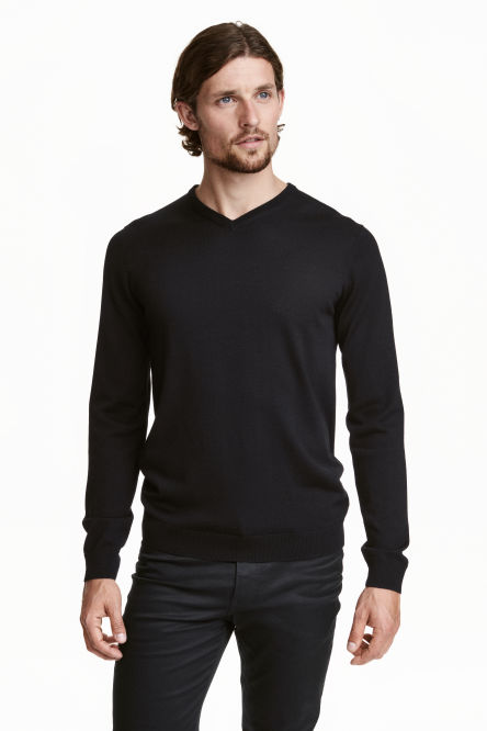 V-neck merino wool jumper
