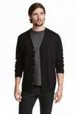 Merino wool cardigan - Black - Men | H&M CN 1