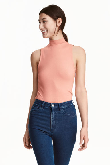 Sleeveless turtleneck top - Powder pink - Ladies | H&M CN 1