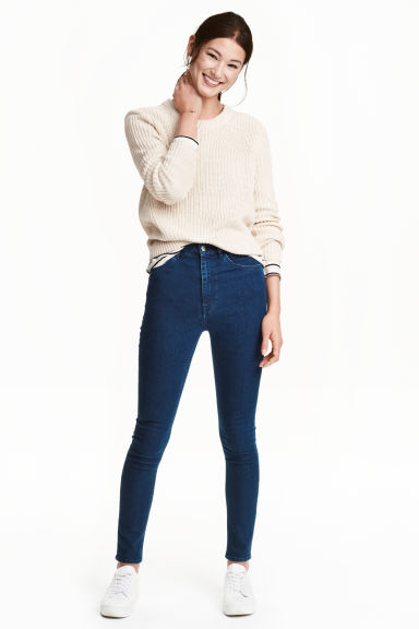 Superstretchbroek - High waist - Donker denimblauw - DAMES | H&M NL