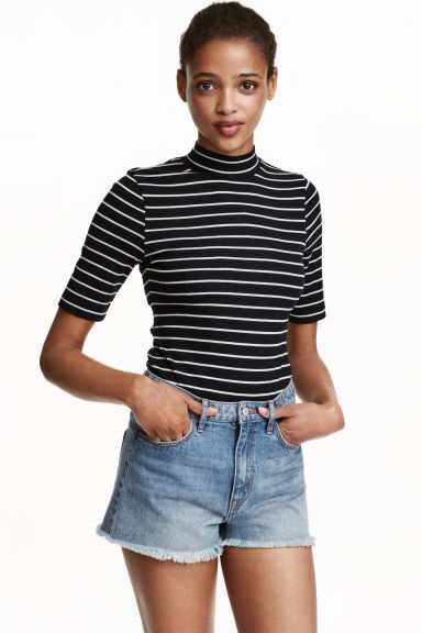 Turtleneck body - Black/Striped - Ladies | H&M CN 1