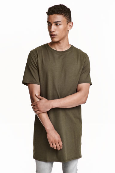 Long T-shirt - Dark khaki green - Men | H&M CN 1