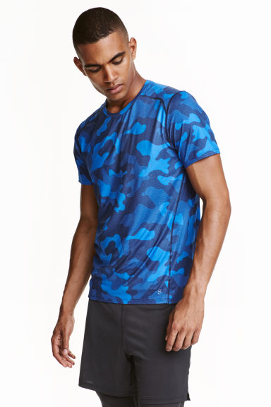Short-sleeved sports top - Blue/Patterned - Men | H&M CN 1