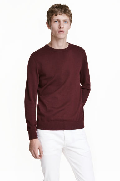 Fine-knit cotton jumper - Burgundy - Men | H&M CN 1
