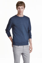 Fine-knit cotton jumper - Blue marl - Men | H&M CN 1
