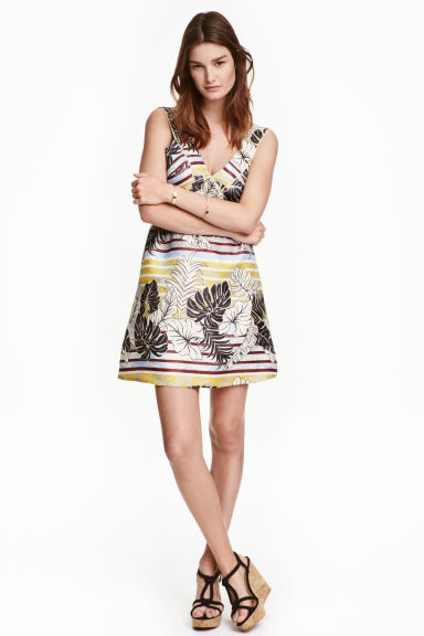 Patterned dress - Natural white/Leaf - Ladies | H&M CN