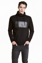 Funnel-collar sweatshirt - Black/Text - Men | H&M CN 1