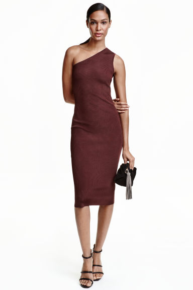 One-shoulder dress - Burgundy - Ladies | H&M CN 1
