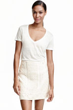 Linen jersey top - Natural white - Ladies | H&M CN 2