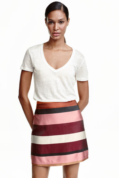 Patterned skirt - Burgundy/Striped - Ladies | H&M CN 1
