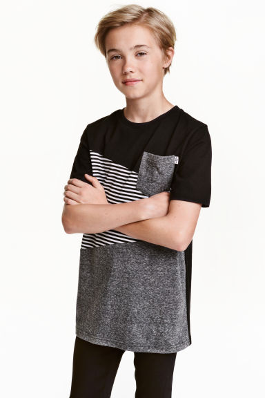 Block-coloured T-shirt - Black - Kids | H&M CN 1