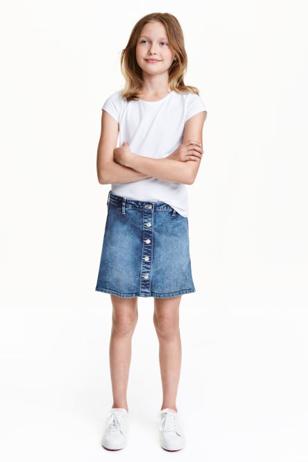 Denim skirt with press-studs