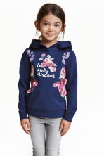 Printed hooded top - Dark blue/Floral - Kids | H&M CN 1
