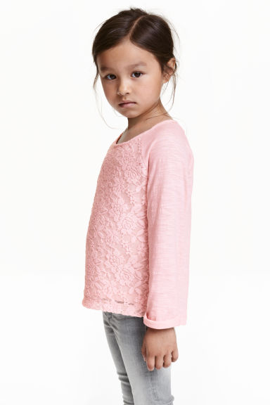 Lace top - Light pink -  | H&M CN 1