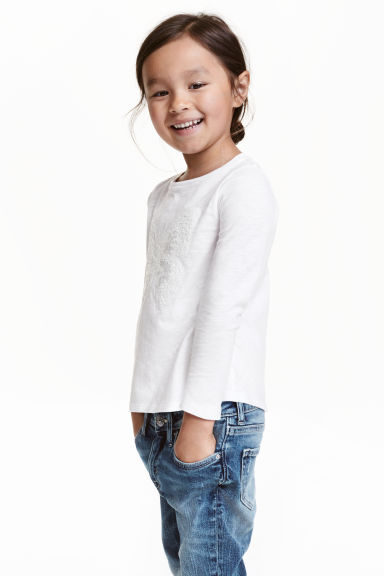 Appliquéd top - White/Butterfly - Kids | H&M CN 1