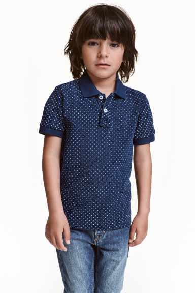 Cotton polo shirt - Dark blue/Spotted - Kids | H&M CN 1