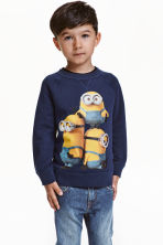 Sweatshirt with a motif - Dark blue/Minions - Kids | H&M CN 1