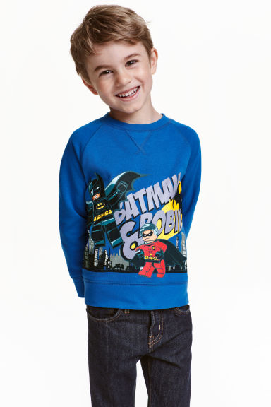 Sweatshirt with a motif - Cornflower blue/Lego - Kids | H&M CN 1