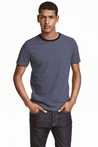 Striped T-shirt - Dark blue/White - Men | H&M CN 1