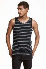 Vest top - Black/Striped -  | H&M CN 1
