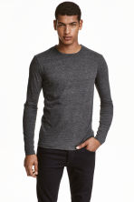 Long-sleeved T-shirt Slim fit - Dark grey marl - Men | H&M CN 1