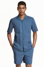 Pyjamas with shirt and shorts - Blue/Patterned - Men | H&M CN 1