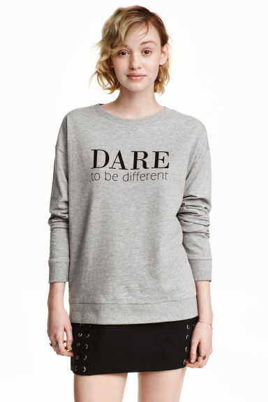 Printed sweatshirt - Grey - Ladies | H&M CN 1
