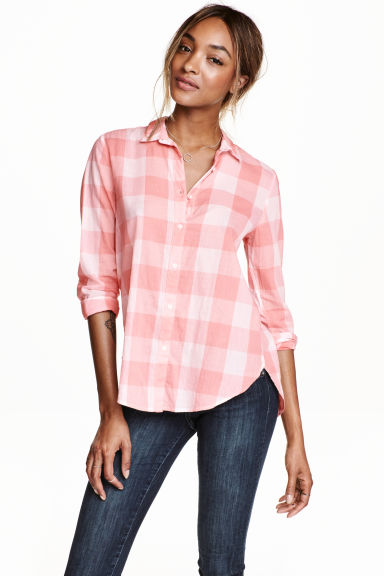 Cotton shirt - Light pink/Checked - Ladies | H&M CN 1