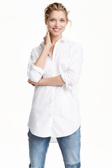 Cotton shirt - White - Ladies | H&M CN 1