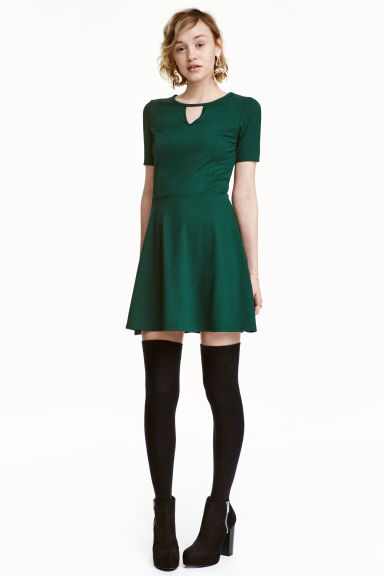 Ribbed jersey dress - Emerald green - Ladies | H&M GB 1