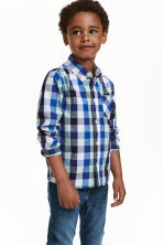 Cotton shirt - Cornflower blue/Checked - Kids | H&M CN 1
