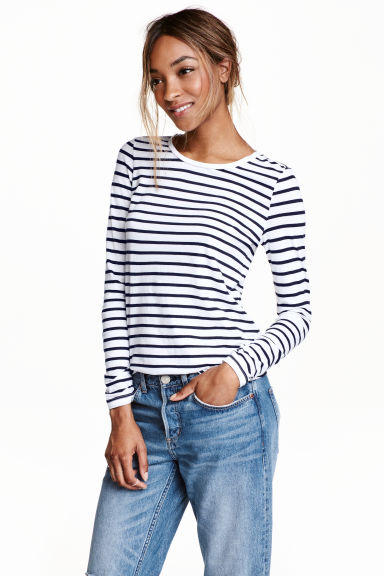 Long-sleeved jersey top - White/Dark blue/Striped - Ladies | H&M CN 1