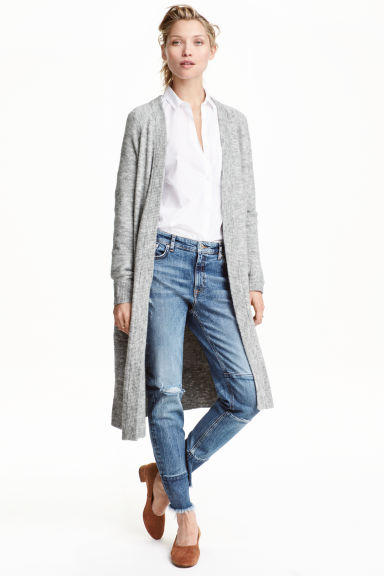 Long knitted cardigan - Grey marl - Ladies | H&M CN 1