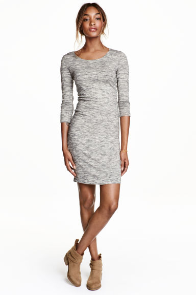 Jersey dress - Grey marl - Ladies | H&M CN 1
