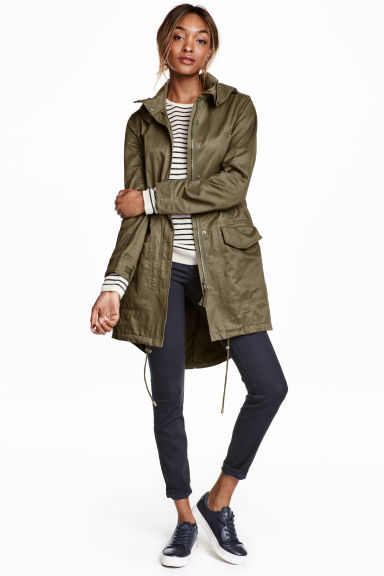 Parka with a hood - Khaki green - Ladies | H&M CN 1